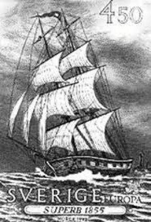 AMERIKABÅTEN. Superb hette fartyget som tog Peter Cassel till Amerika. Båten hamnade sedermera på frimärke.