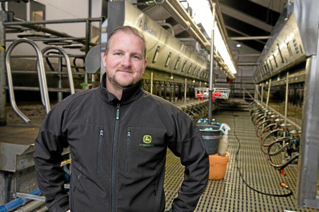 """""""Gården kommer att växa och vi är mycket nöjda med den investering vi gjort"""", säger Adam Skure. Det är en lättarbetad anläggning."""