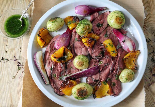 Rådjurskött har tunna, fina fibrer och tillagas bäst på lite högre temperaturer under kortare tid.