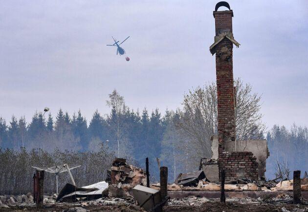 En helikopter vattenbombar skogen bakom den nerbrunna hästgården vid Tulatorp utanför skånska Hästveda på onsdagen.