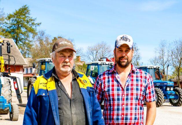 Roy Nilsson och Johan Nilsson fortsätter traditionen med blå traktorer som Roys föräldrar startade 1953 då de köpte en Fordson Höglund.