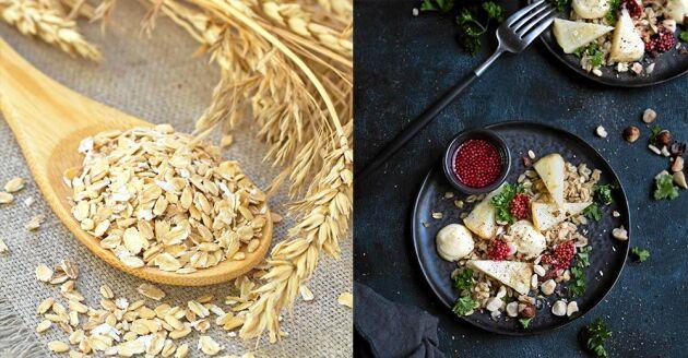 Havregryn och mathavre är två havreprodukter som går att laga gott av till både frukost och middag. Här i en sallad med rättika, grönkål och picklade senapsfrön.