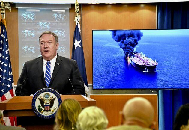 USA:s utrikesminister Mike Pompeo anklagar Iran för att stå bakom torsdagens attacker mot två oljetankfartyg i Omanbukten.