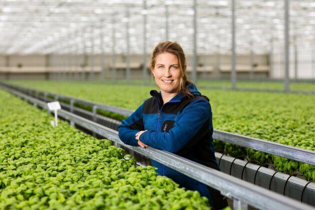 """""""Vi hållit fokus på helheten och intresserat oss för värme, ljus, näring med mera i AI-projektet"""", säger Lisa Lindström, odlingschef på Svegro."""