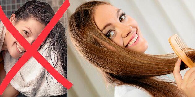 Därför ska du aldrig torka håret med frottéhandduk!
