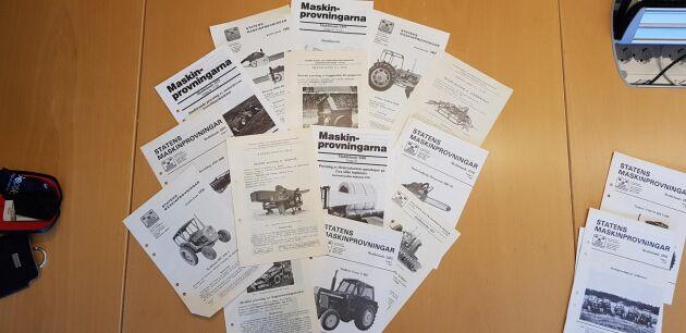 Dessa rapporter finns nu tillgängligt digitalt för allmänheten. Över 5 000 maskiner och redskap testades vid Statens maskinprovningars anläggningar.