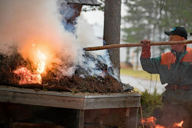 Att bränna tjära är en gammal kunskap som är viktig att bevara.