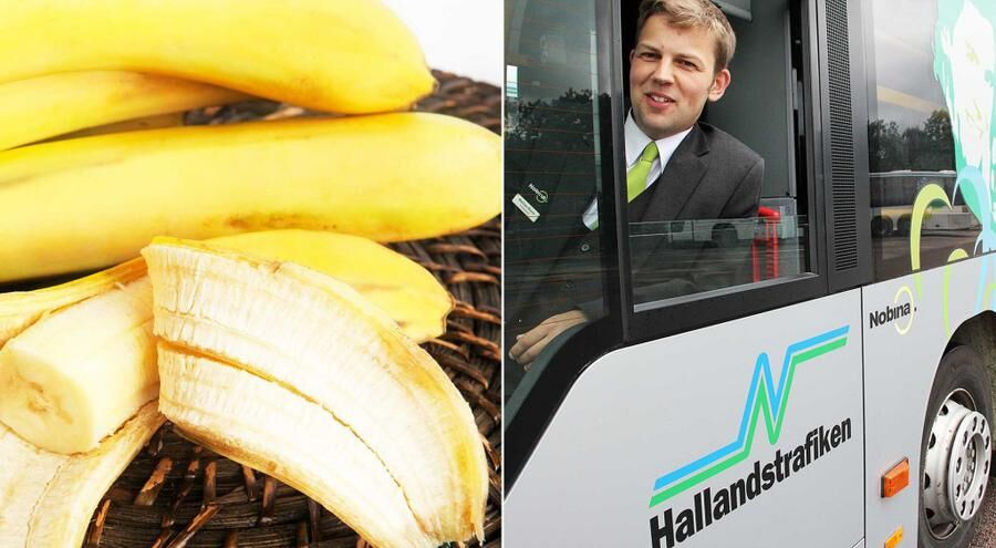 Mattias Block är trafikledare på bussföretaget Nobina som kör bussar på bananskal i Halland.