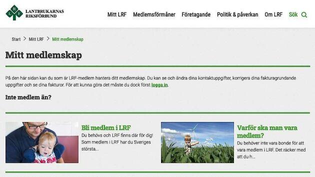 """Så här ser det ut under """"Mitt medlemskap"""" på lrf.se, där du kan logga in för att själv uppdatera dina kontaktuppgifter och försäkra dig om att LRF har rätt mejladress."""