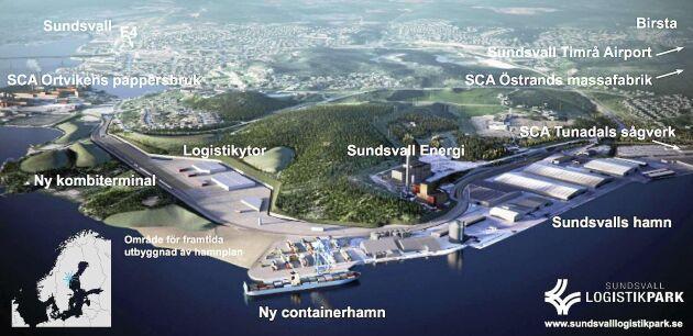 Om det endast skulle byggas en containerhamn skulle det omstridda grön- och villaområdet Petersvik kunna bevaras.
