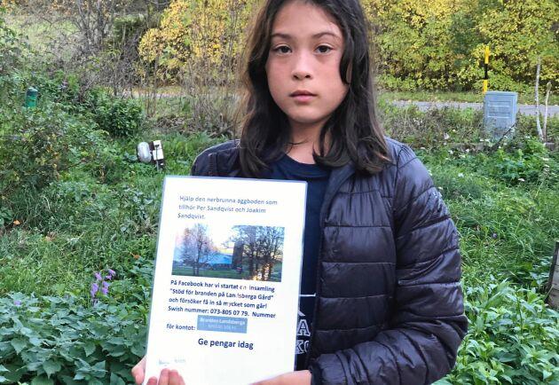 Maja Holén har gjort affischer om insamlingen som hon satt upp på olika platser, till exempel i skolan och hos Ica.