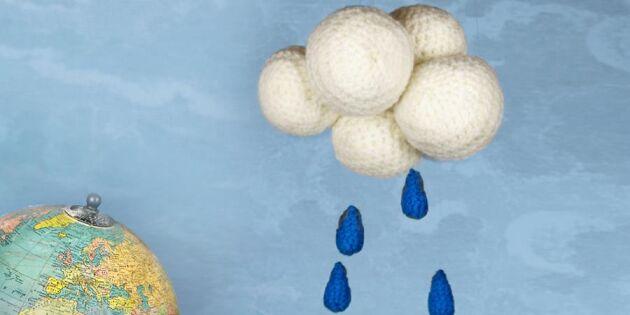 Söta droppar av garn! Virka ett fint regnmoln