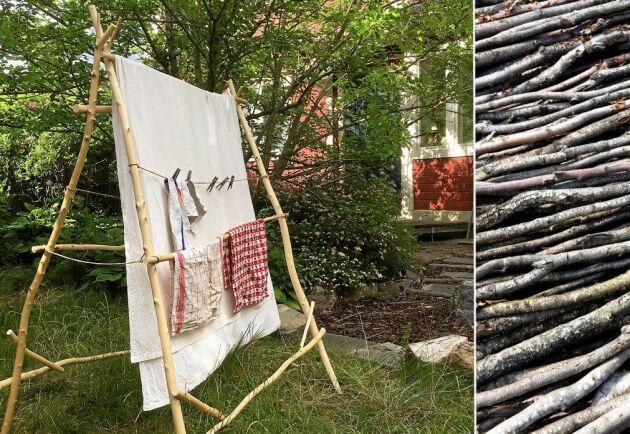 En rishög blir en ställning att hänga tvätt på. Kul att göra och snudd på gratis.