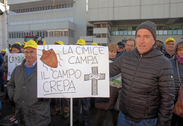 """""""Bärfisen överlever medan fälten dör"""". Maurizio Tapparello och Maurizio De Battisti har fått stora skador på sina odlingar."""