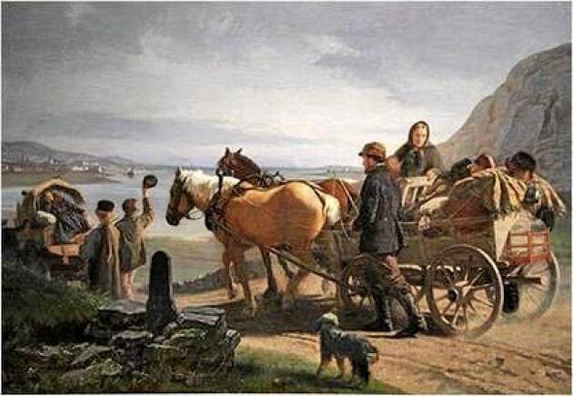 """PÅ VÄG. """"Utvandrare på väg mot Göteborg"""" av Geskel Saloman."""