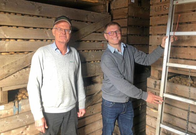 Anders Andersson och Axel Hörteborn håller på och bygger ett eget precisionsodlingsprogram med målet att öka sina skördar med 20 procent. Om de lyckas kommer det innebära betydande besparingar på miljön.