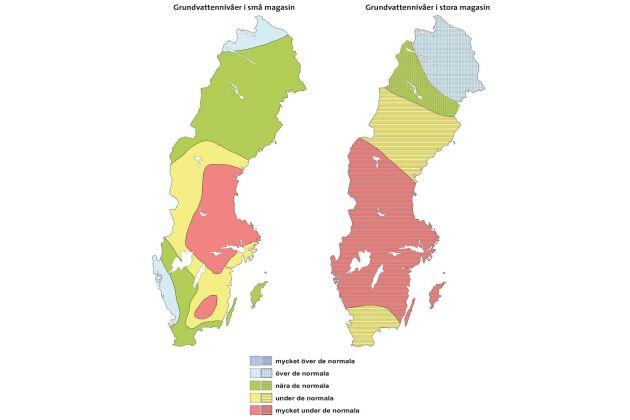 Grundvattennivåer i juni, stora och små magasin.