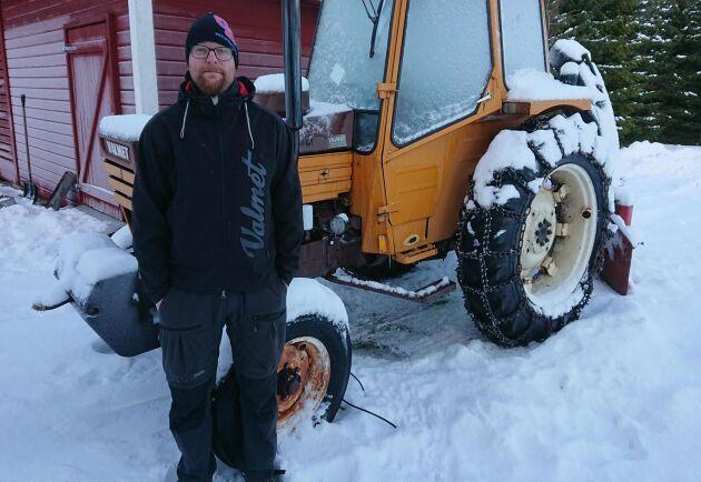 Stefan Karlsson i Jämtland kör familjens Valmet 602. Han är nöjd med hur spakarna är placerade och tycker att Valmet låg före andra märken på den fronten.