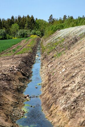 Härifrån tillförs vattnet till den nya dammen. Svante Runfeldt har rätt att ta ut 100000 kubikmeter från det lokala vattendraget.