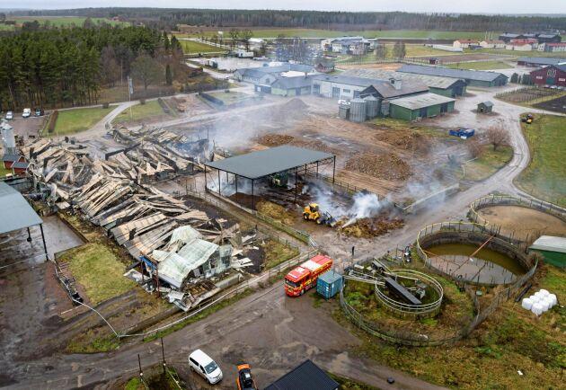 Dagen efter branden på Vreta Utbildningscentrum. Brandorsaken är ännu inte känd.
