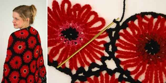 Virka en härlig sjal med stora blommor