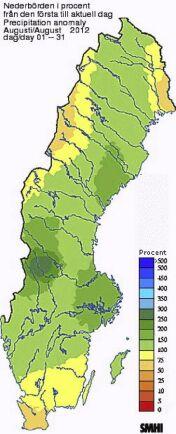 I de mörkare gröna partierna har det under augusti regnat 150-300 procent mer än normalt.