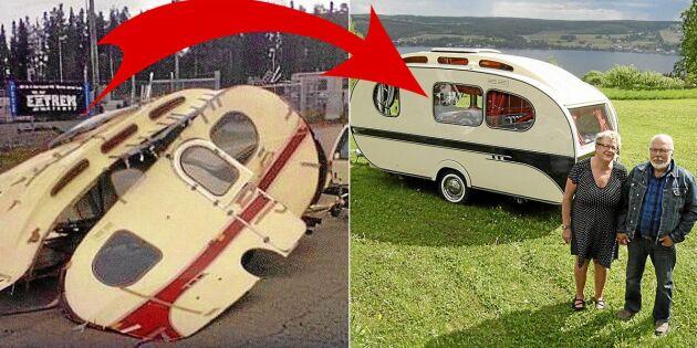 Siv och Leif har renoverat sin unika husvagn till en riktig retropärla!