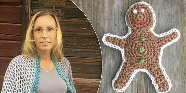 God, glad och lite runt om magen. Ellinor Widéen bjuder på mönster på pepparkaksgubbe med liten kalaskula. Foto: Ellinor Widéen.