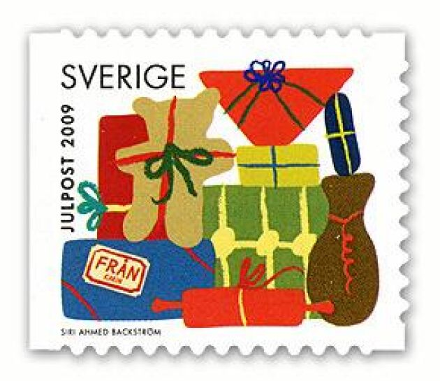Julfrimärke av Siri Ahmed Backström 2009.