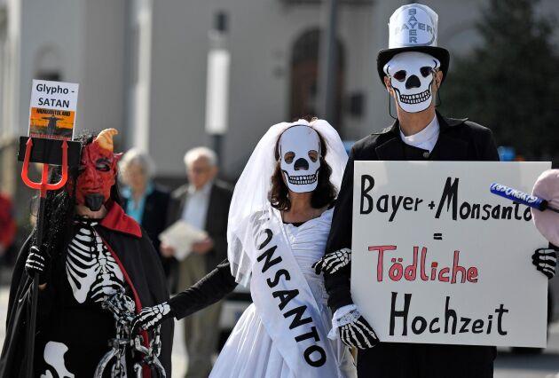 Bayers uppköp av Monsanto möttes av protester vid årsstämman tidigare i vår. Arkivbild.