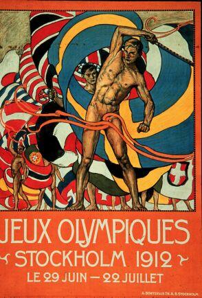 Den officiella planschen för OS i Stockholm 1912.