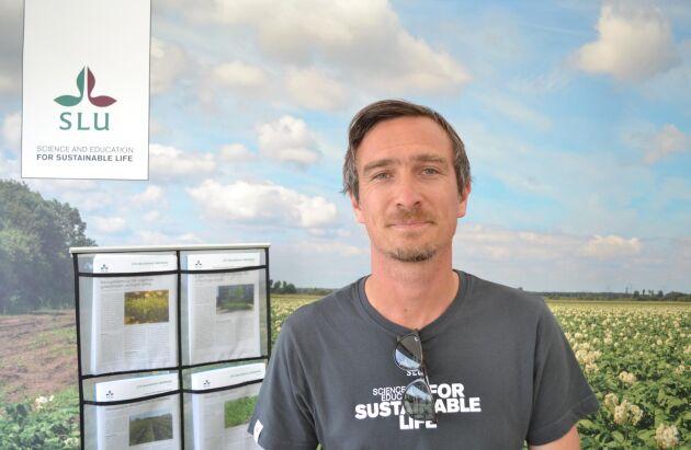"""Erik Alexandersson är växtbiolog och ansvarig för ett delprojekt inom SLU Grogrunds forskningsprojekt """"Resistensförädling för friskare grödor""""."""