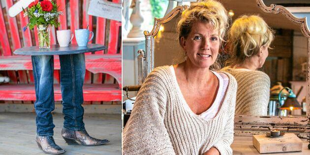Återbruk: Bordet har fått jeans och stövlar