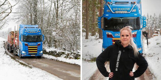 Svenska Truckers-Tove kör tre lass timmer per natt