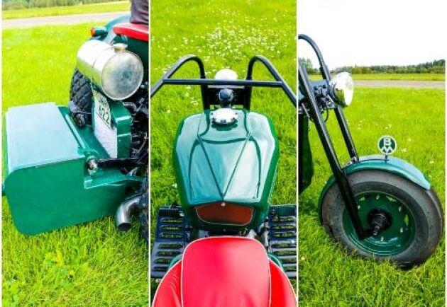 En motvikt där bak gör trehjulingen lätt att styra och den egenkonstruerade framgaffeln ger rätt motorcykelstuk.