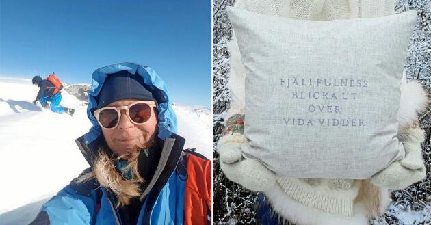 Maria Härdig har designat kuddarna som sätter fingret på känslan som finns att uppleva i svenska fjällvärden – lugnet och tystnaden!