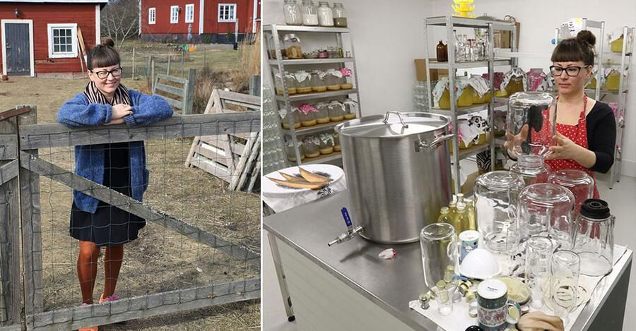 Bryggeriet ligger i Camillas farfars gamla garage. Där innanför bubblar det och pyser av fermenteringsprocessen. Foto: Peter Ekeström