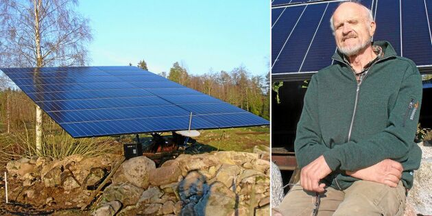Göte byggde sin egen roterande solcellsanläggning – med hjälp av återbruk