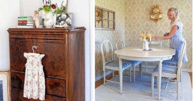Möblerna är loppisfynd eller fanns kvar på gården. Den lilla klänningen på skänken är Junis 4-årspresent från mormor och morfar.