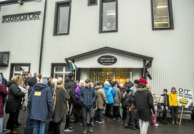 Många protesterade mot nedläggningen i Boxholm.