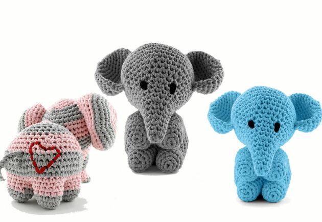 Virka en ursöt elefant eller två. De virkas i ett elastiskt bandgarn och blir lagom stora för en barnkram.