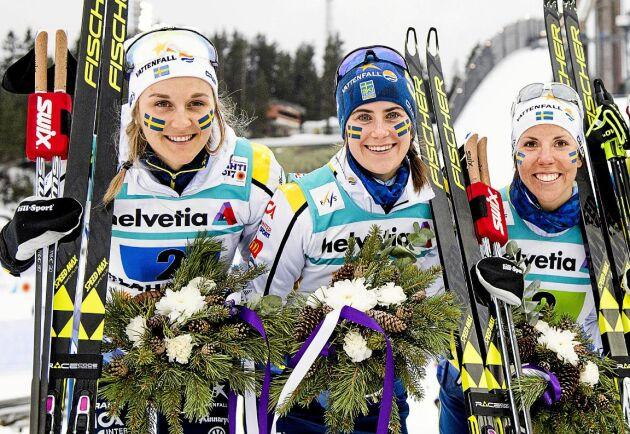 Stina Nilsson, Ebba Andersson och Charlotte Kalla.