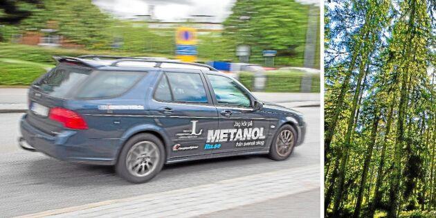 Här är bilen som rullar på metanol från skogen