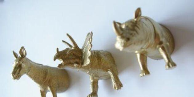 Snygga magneter av halverade plastdjur