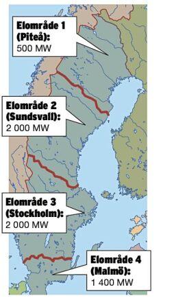 Så här ser fördelningen ut för utbyggnaden av vindkraft. Installerad effekt, MW, per elområde 2015: Elområde 1 (Piteå): 500 Elområde 2 (Sundsvall): 2 000 Elområde 3 (Stockholm): 2 000 Elområde 4 (Malmö): 1 400 Enligt preliminära uppgifter tillkom 493 MW under 2016 Källa: Energimyndigheten, Svensk Vindenergi