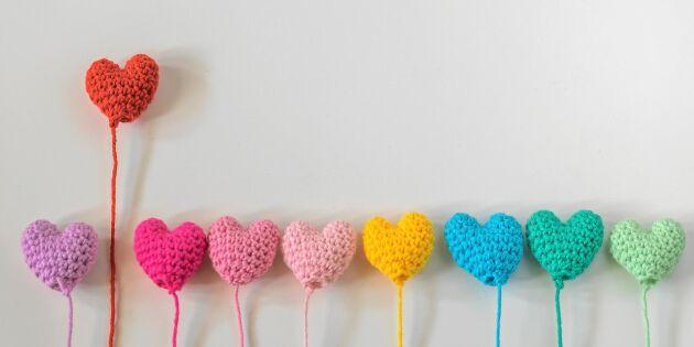 Virka små knubbiga hjärtan – söta prydnader