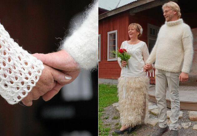"""Ullbröllop i Lekhyttan. Gunilla Larsholt och Johan Molin säger """"ja"""" i helylle."""