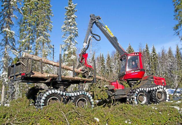 Elektronik från 19 skogsmaskiner stals, dock inte från denna.