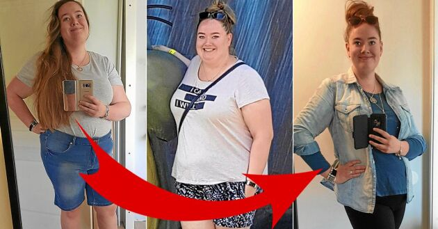 Linnéa Enge Ledéus före och 28 kilo senare – efter KBT-behandling.