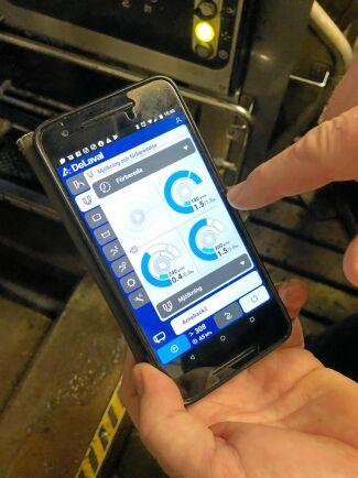 Alla funktioner kan styras lika bra i appen som på robotens pekskärm. Här visas mjölkningen på varje enskild spene.